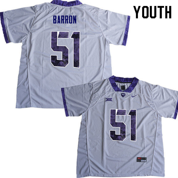 Youth #51 Harrison Barron TCU Horned Frogs College Football Jerseys Sale-White