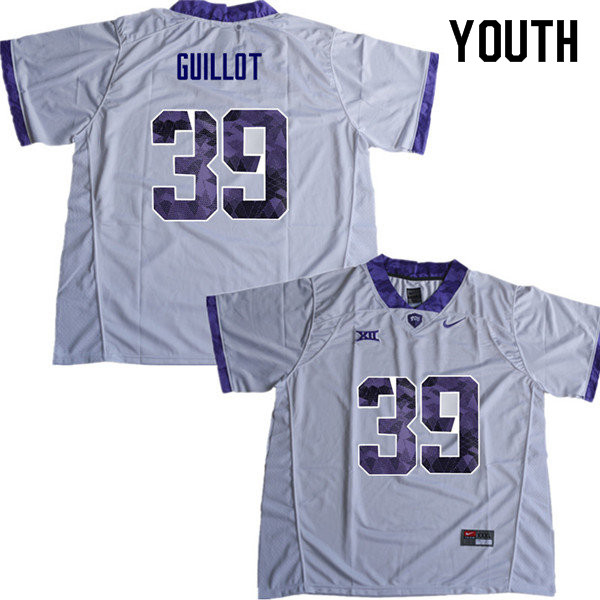 Youth #39 Jacques Guillot TCU Horned Frogs College Football Jerseys Sale-White