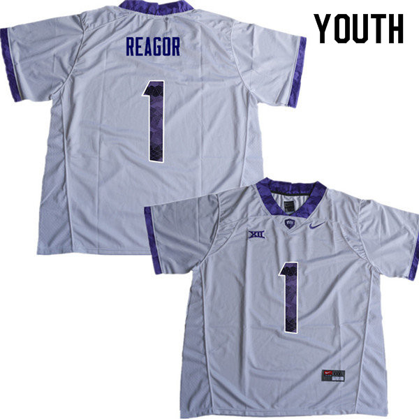 Youth #1 Jalen Reagor TCU Horned Frogs College Football Jerseys Sale-White