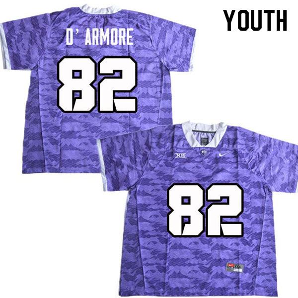 Youth #82 Jason D Armore TCU Horned Frogs College Football Jerseys Sale-Purple