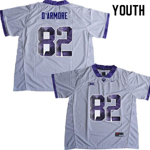 Youth #82 Jason D Armore TCU Horned Frogs College Football Jerseys Sale-White