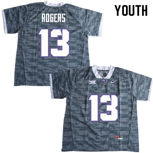 Youth #13 Justin Rogers TCU Horned Frogs College Football Jerseys Sale-Gray