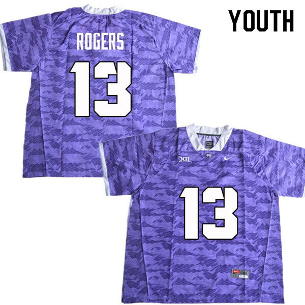 Youth #13 Justin Rogers TCU Horned Frogs College Football Jerseys Sale-Purple