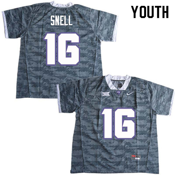 Youth #16 Kenedy Snell TCU Horned Frogs College Football Jerseys Sale-Gray