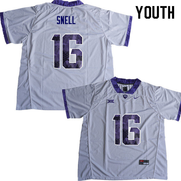 Youth #16 Kenedy Snell TCU Horned Frogs College Football Jerseys Sale-White