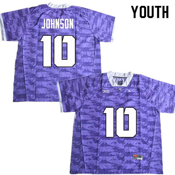 Youth #10 Kerry Johnson TCU Horned Frogs College Football Jerseys Sale-Purple