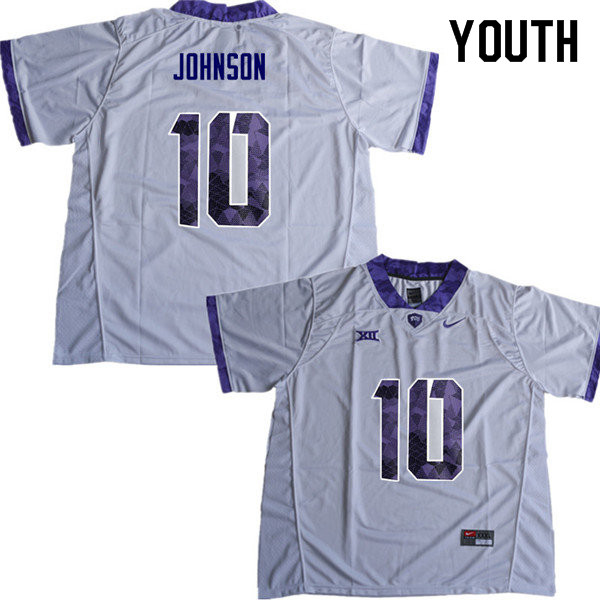Youth #10 Kerry Johnson TCU Horned Frogs College Football Jerseys Sale-White