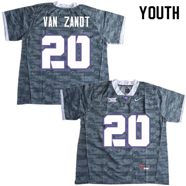 Youth #20 La Kendrick Van Zandt TCU Horned Frogs College Football Jerseys Sale-Gray
