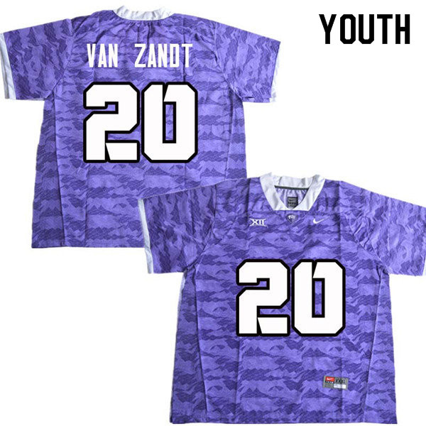 Youth #20 La Kendrick Van Zandt TCU Horned Frogs College Football Jerseys Sale-Purple