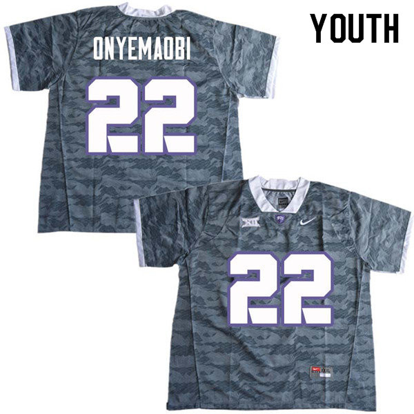 Youth #22 Michael Onyemaobi TCU Horned Frogs College Football Jerseys Sale-Gray