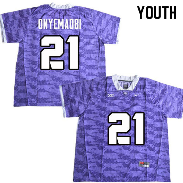 Youth #22 Michael Onyemaobi TCU Horned Frogs College Football Jerseys Sale-Purple