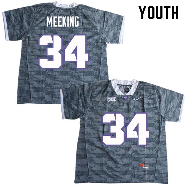 Youth #34 Ni Jeel Meeking TCU Horned Frogs College Football Jerseys Sale-Gray