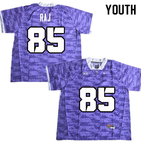 Youth #85 Niven Raj TCU Horned Frogs College Football Jerseys Sale-Purple