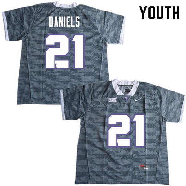Youth #21 Noah Daniels TCU Horned Frogs College Football Jerseys Sale-Gray