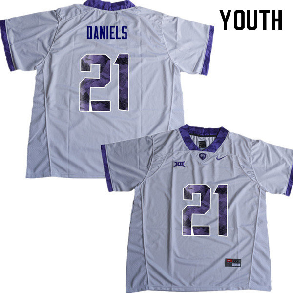Youth #21 Noah Daniels TCU Horned Frogs College Football Jerseys Sale-White