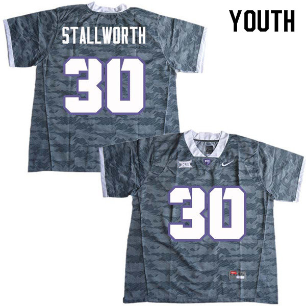 Youth #30 Omega Stallworth TCU Horned Frogs College Football Jerseys Sale-Gray