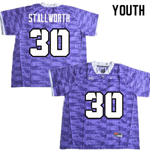 Youth #30 Omega Stallworth TCU Horned Frogs College Football Jerseys Sale-Purple