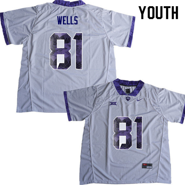 Youth #81 Pro Wells TCU Horned Frogs College Football Jerseys Sale-White