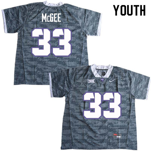 Youth #33 Ryan McGee TCU Horned Frogs College Football Jerseys Sale-Gray