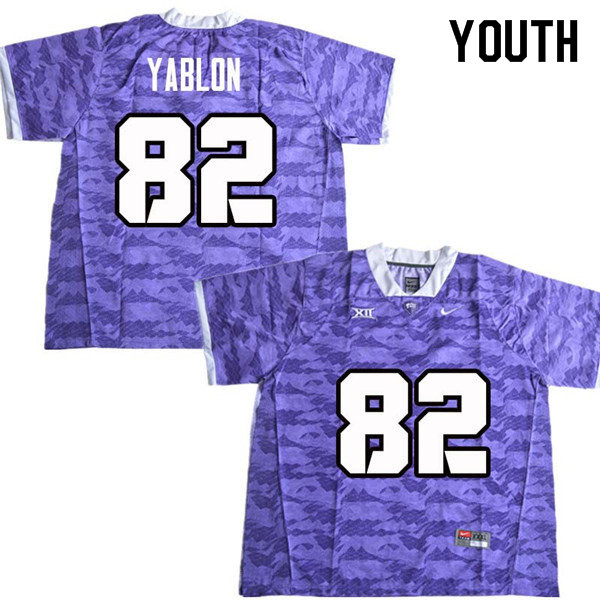 Youth #82 Yishai Yablon TCU Horned Frogs College Football Jerseys Sale-Purple