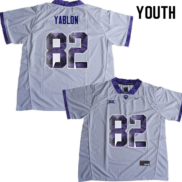 Youth #82 Yishai Yablon TCU Horned Frogs College Football Jerseys Sale-White
